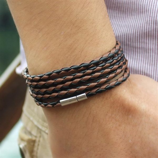 Men's Leather Wrapped Bracelet - Brown and Black
