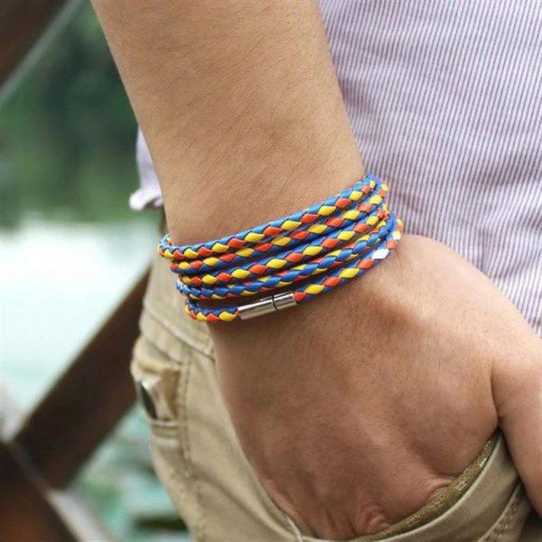 Men's Leather Wrapped Bracelet - Multi