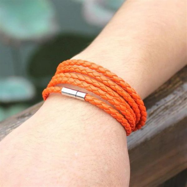 Men's Leather Wrapped Bracelet - Orange