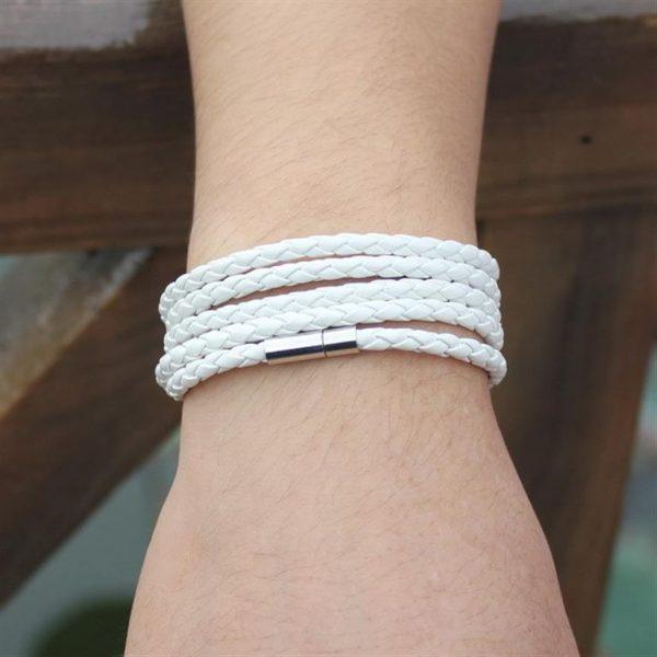 Men's Leather Wrapped Bracelet - White