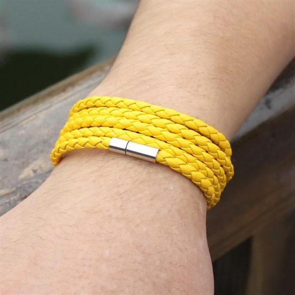 Men's Leather Wrapped Bracelet - Yellow - Model