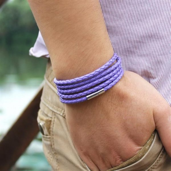 Men's Leather Wrapped Bracelet - lilac - Model