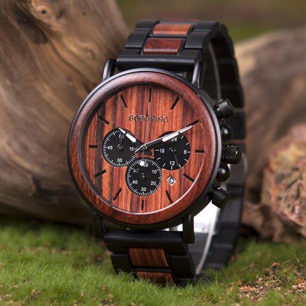 Men's Wooden Military Watch - Dark