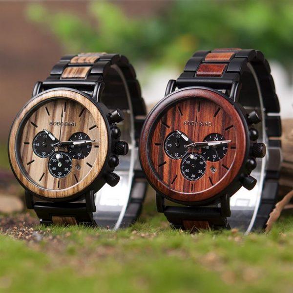 Men's Wooden Military Watch - Duo
