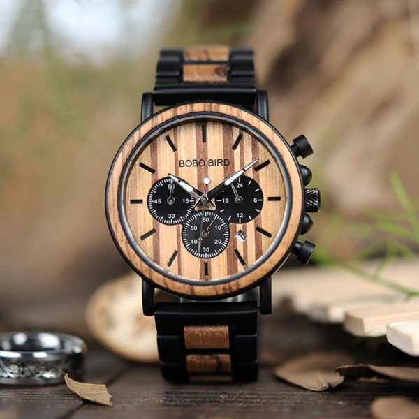Men's Wooden Military Watch - Front