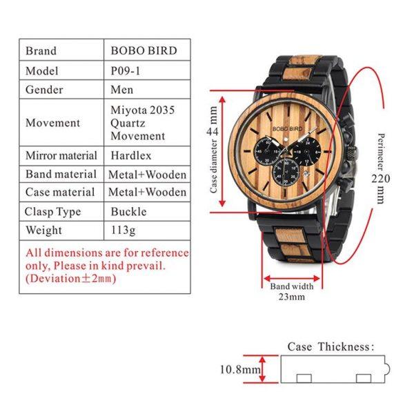 Men's Wooden Military Watch - Specs