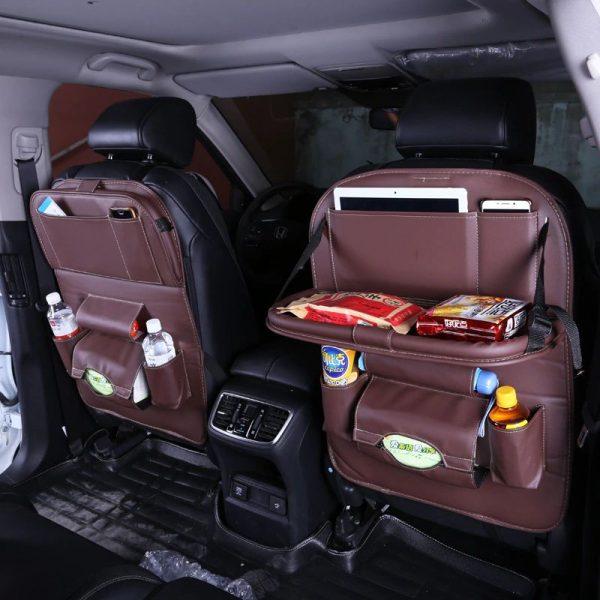 Multi-function Car Seat Organizer - Brown 2