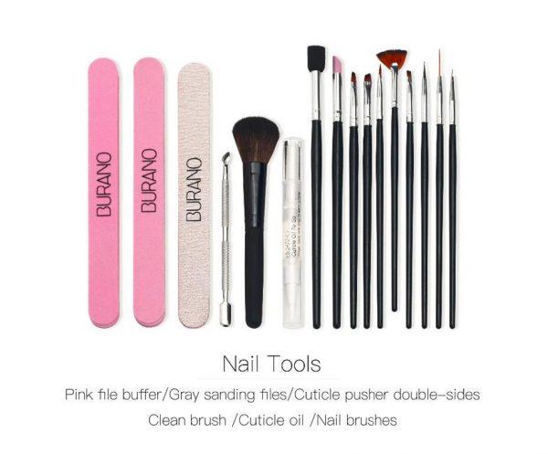 Nail Art Manicure Kit - Tools - Brushes