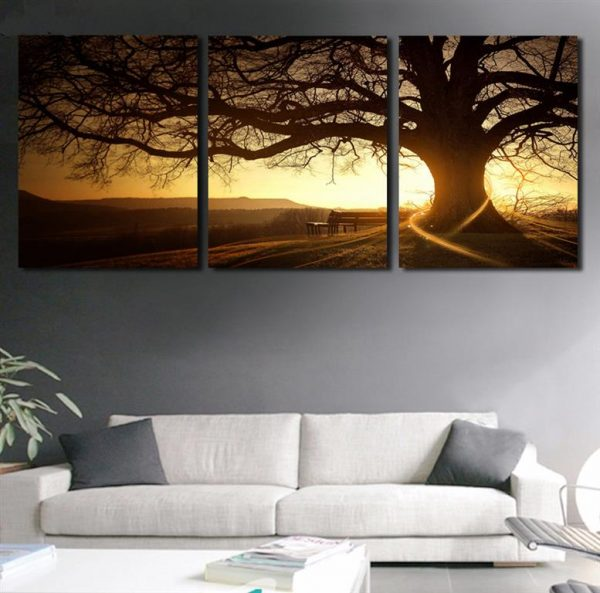 Tree In Sunset Canvas Wall Art -1