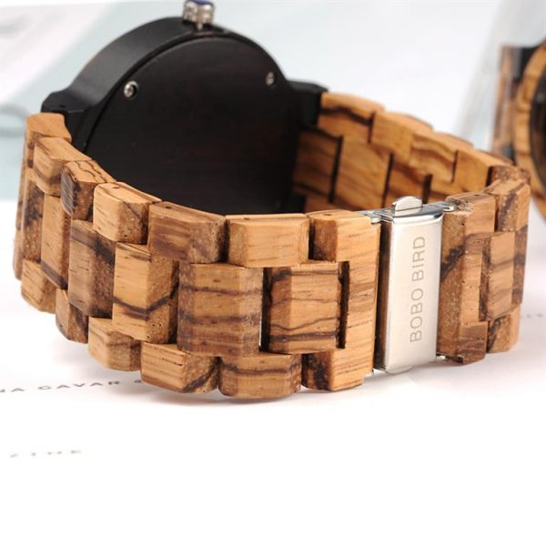 Men's Wooden Watch With Week Display - Back