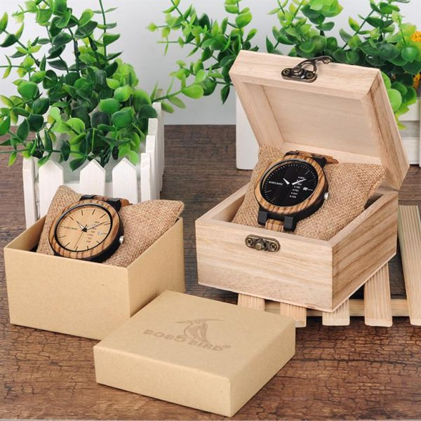 Men's Wooden Watch With Week Display - Box