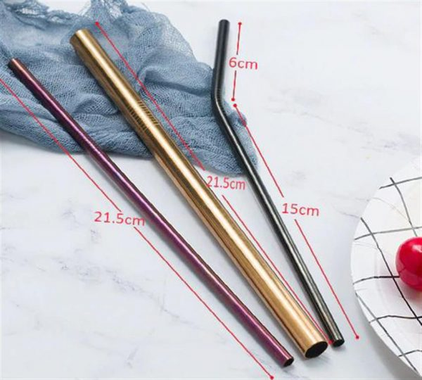 Colourful Reusable Stainless Steel Straws - 2
