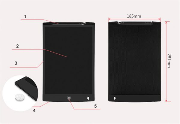 LCD Writing Tablet with Stylus Pen - Dimensions