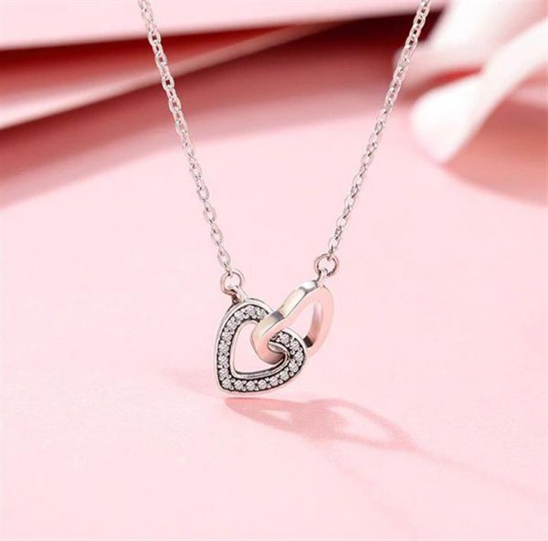 Sterling Silver Connected Hearts Pendant - 1