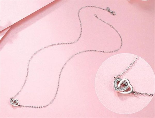 Sterling Silver Connected Hearts Pendant - 3