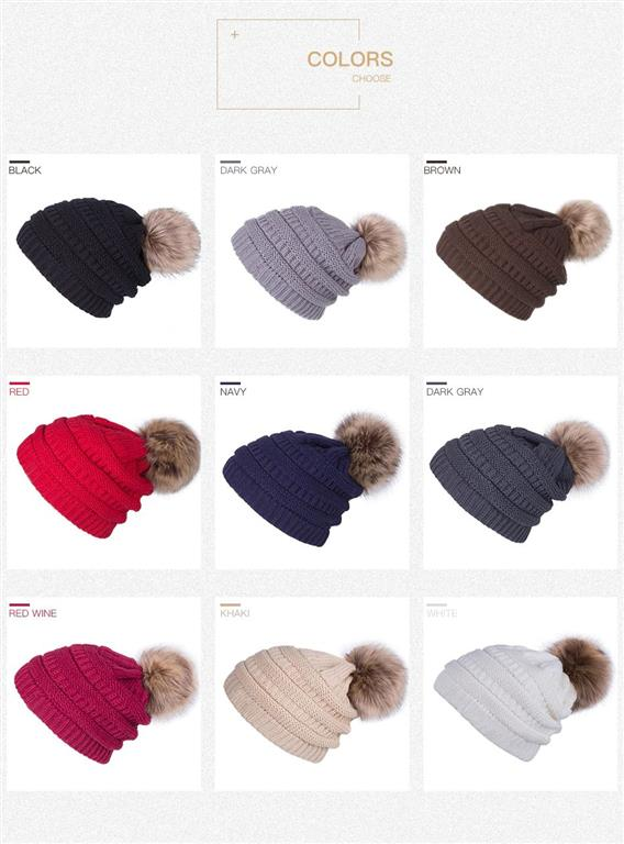 Knitted Pom Pom Winter Cap For Women - Colours