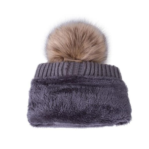 Knitted Pom Pom Winter Cap For Women - Turned
