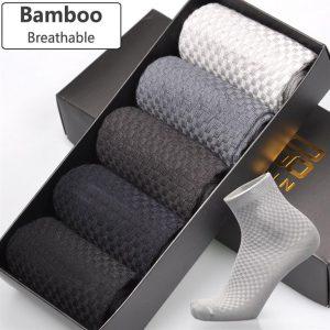 Men's Breathable Bamboo Fiber Business Socks - 5 pairs