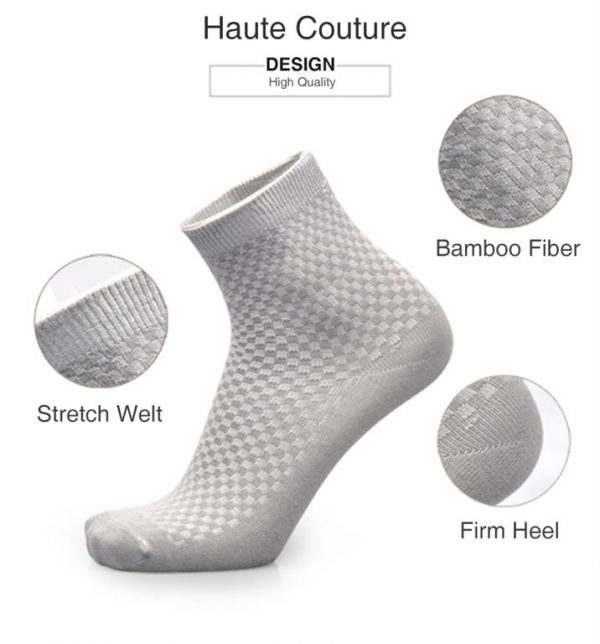 Men's Breathable Bamboo Fiber Business Socks - 5 pairs - Details