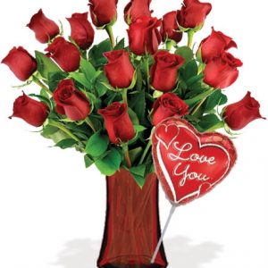 18 Red Roses with Vase & Love Balloon Flower Delivery