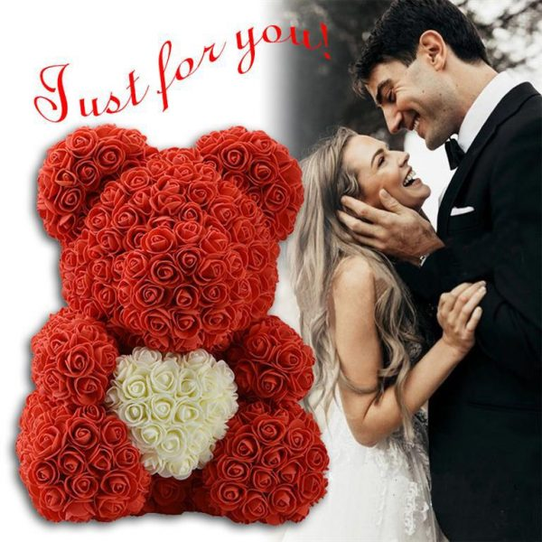 Beautiful Rose Teddy Bear With Heart - Samples