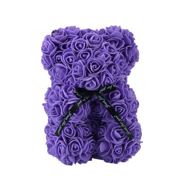 Beautiful Rose Teddy Bear - purple