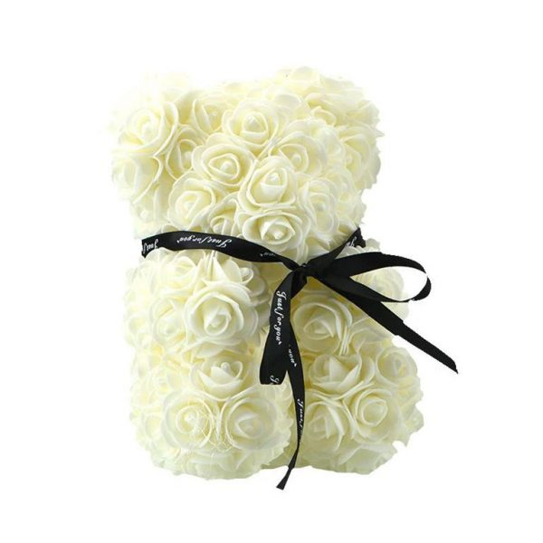 Beautiful Rose Teddy Bear - white2