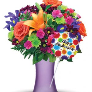 Vibrant Garden with Purple Vase & Anniversary Balloon Flower Delivery
