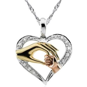 Cubic Zirconia Mother's Pendant - Gold 2