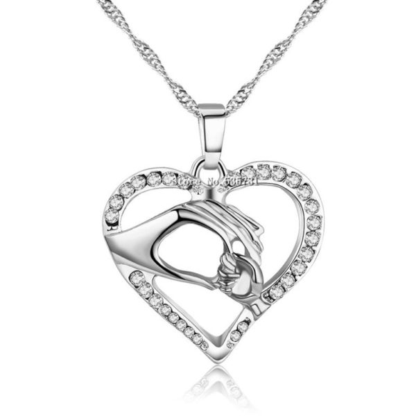 Cubic Zirconia Mother's Pendant - Silver