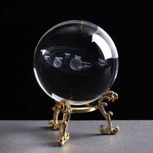 3D Laser Engraved Miniature Solar System Ball - Gold Base