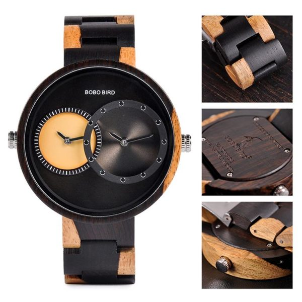 BOBO BIRD Wooden Watch With Dual Dials
