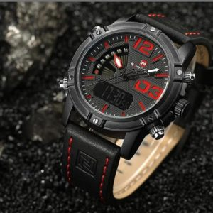 Men's Fashion Leather Military Sport Watch - Black