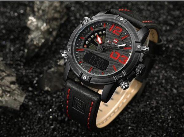 Men's Fashion Leather Military Sport Watch - Black