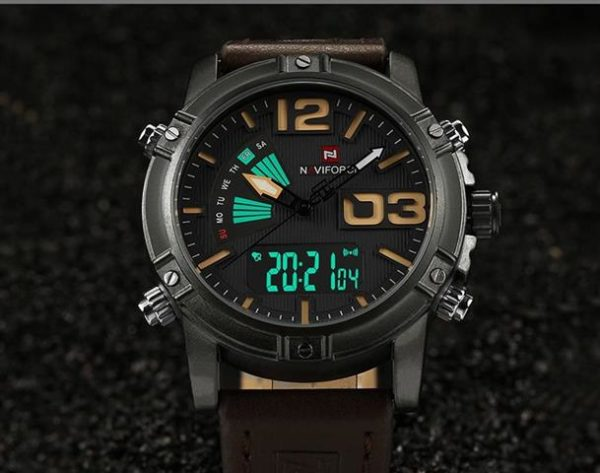 Men's Fashion Leather Military Sport Watch - Front