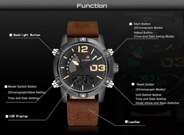 Men's Fashion Leather Military Sport Watch - Specifications
