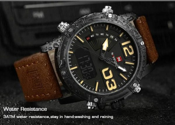 Men's Fashion Leather Military Sport Watch - Water Resistance