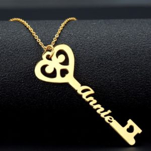 Personalized Key Necklace For Women - Gold
