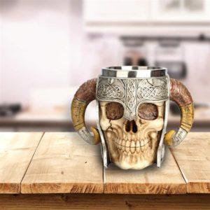 Stainless Steel Skull Horn Mug - 2