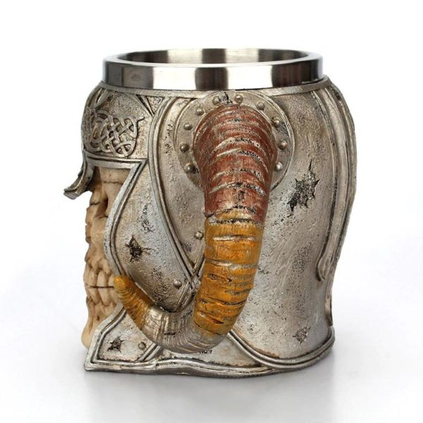 Stainless Steel Skull Horn Mug - Profile