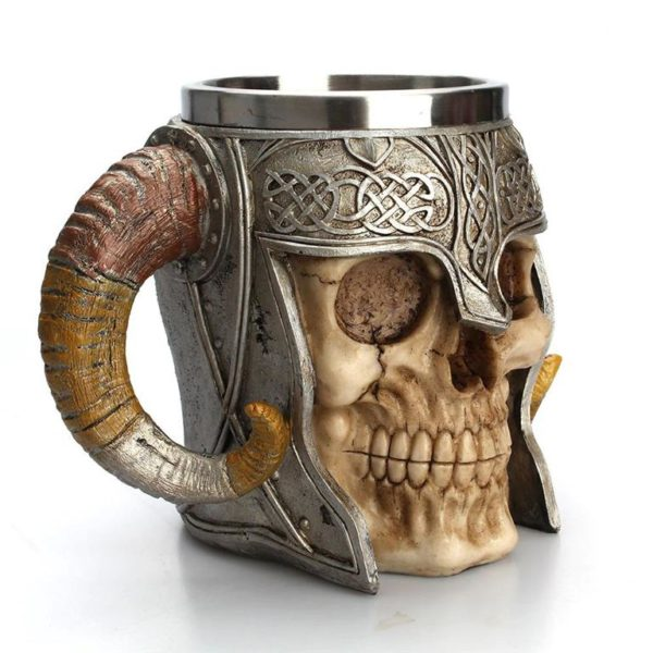 Stainless Steel Skull Horn Mug - Side