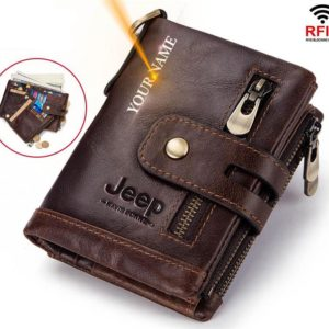 100% Genuine Leather Men Wallet - Free Engraving