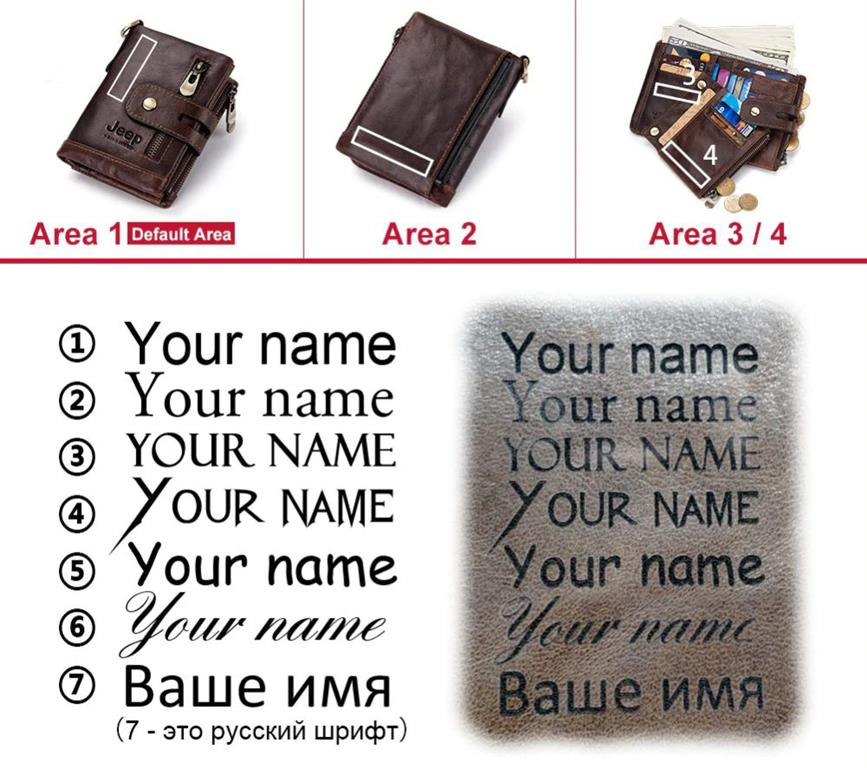 100% Genuine Leather Men Wallet - Free Engraving - Fonts