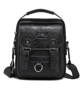 Crossbody Leather Shoulder Bag For Men - Black
