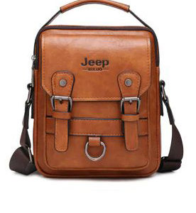 Crossbody Leather Shoulder Bag For Men - Khaki