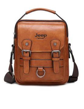Crossbody Leather Shoulder Bag For Men - Khaki