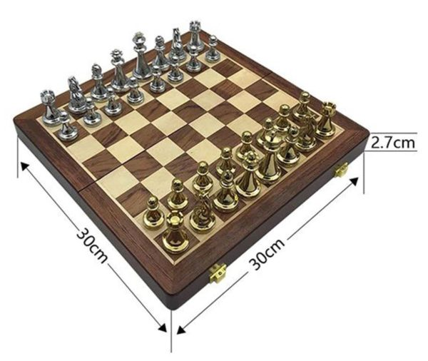 Professional Chess Set - Golden And Silver Chess Pieces