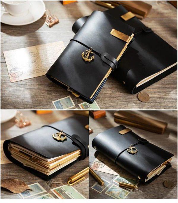 Handmade Vintage Leather Traveler Notebook - Black