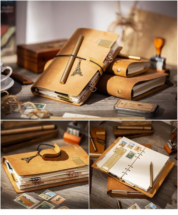 Handmade Vintage Leather Traveler Notebook - Brown