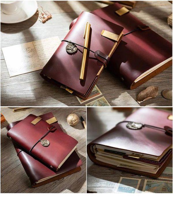 Handmade Vintage Leather Traveler Notebook - Coffee